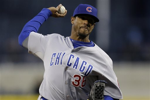 Chicago Cubs starting pitcher Edwin Jackson (36) delivers during the third inning of a baseball game against the Pittsburgh Pirates in Pittsburgh, Wednesday, April 3, 2013. (AP Photo/Gene J. Puskar)