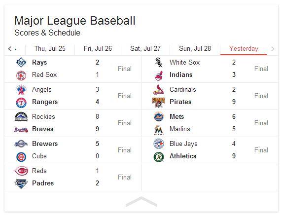 July 29 - Scores